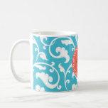 Elegant girly blue floral pattern monogram classic white coffee mug
