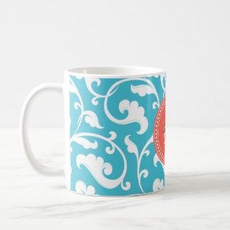 Elegant girly blue floral pattern monogram coffee mug