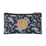 Elegant girly blue floral pattern monogram cosmetic bags