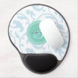 Elegant girly blue floral pattern monogram gel mouse pad