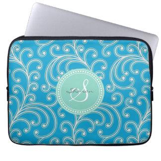 Elegant girly blue floral pattern monogram laptop computer sleeve
