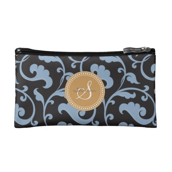 Elegant girly blue floral pattern monogram makeup bag