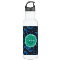 Elegant girly blue floral pattern monogram stainless steel water bottle