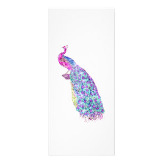 Elegant Girly Bright Pink Teal Regal Peacock Bird Rack Card