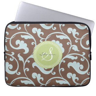 Elegant girly brown blue floral pattern monogram laptop sleeve