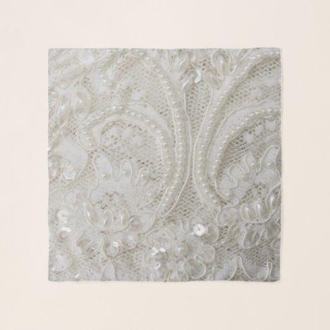 elegant girly chic white rhinestone pearl lace scarf