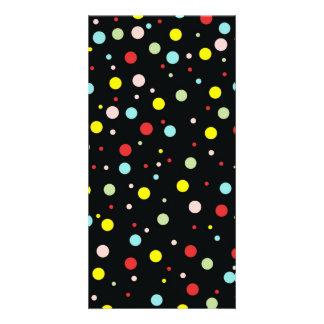Elegant Girly Colorful Polka Dots Custom Photo Card