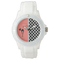 Elegant girly cute black whimsical cat polka dots watch