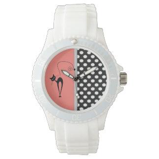 Elegant girly cute black whimsical cat polka dots watch