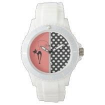 Elegant girly cute black whimsical cat polka dots wristwatch
