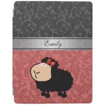 Elegant girly damask funny cartoon sheep monogram iPad smart cover