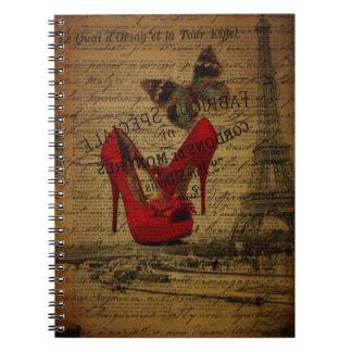 elegant girly eiffel tower vintage paris notebook