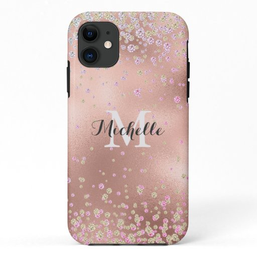 Elegant Girly  Faux Rose Gold Foil Personalized iPhone 11 Case