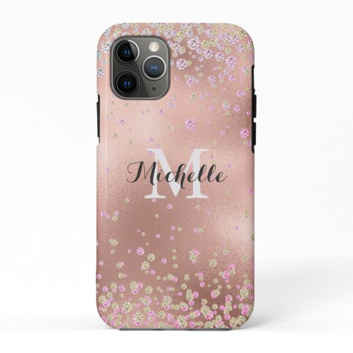 Elegant Girly  Faux Rose Gold Foil Personalized iPhone 11 Pro Case