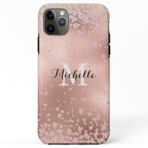 Elegant Girly  Faux Rose Gold Foil Personalized iPhone 11 Pro Max Case