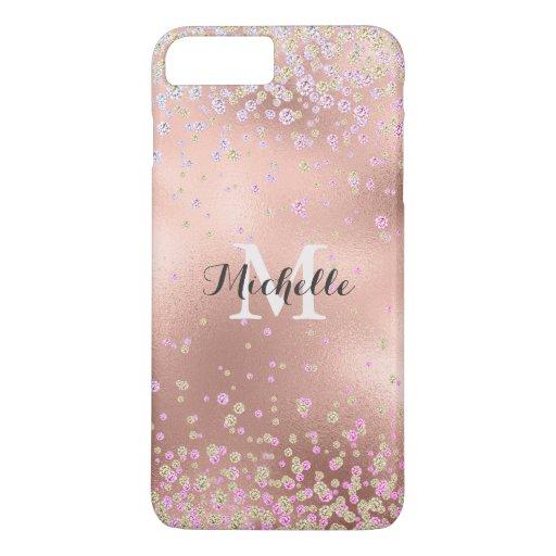 Elegant Girly Faux Rose Gold Foil Personalized iPhone 8 Plus/7 Plus Case