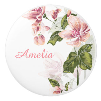 Elegant Girly Floral Ceramic Knob