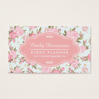Elegant Girly Floral Vintage Personalized Business Card