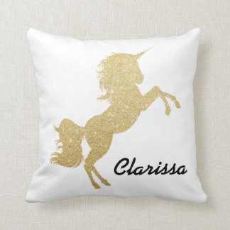 elegant girly gold glitter unicorn throw pillow