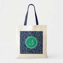 Elegant girly green blue floral pattern monogram tote bag
