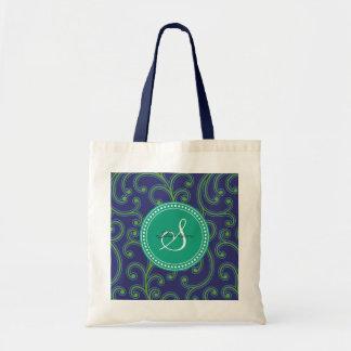 Elegant girly green blue floral pattern monogram tote bag