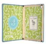 Elegant girly green floral pattern monogram iPad air cover