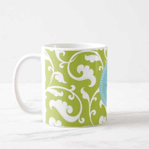 Elegant girly green floral pattern monogram classic white coffee mug