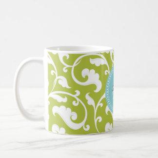 Elegant girly green floral pattern monogram coffee mug