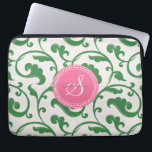 "Elegant girly green floral pattern monogram laptop sleeve<br><div class=""desc"">Chic elegant stylish feminine decorative swirl green floral pattern design, the cute girly subtle retro modern floral pattern in pink, green and white give this elegant retro design a contemporary, unique and feminine look. Cool unique gifts for her. Custom the personalized monogram with your own initial and name, you can...</div>"