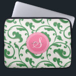 """Elegant girly green floral pattern monogram laptop sleeve<br><div class=""""desc"""">Chic elegant stylish feminine decorative swirl green floral pattern design, the cute girly subtle retro modern floral pattern in pink, green and white give this elegant retro design a contemporary, unique and feminine look. Cool unique gifts for her. Custom the personalized monogram with your own initial and name, you can...</div>"""
