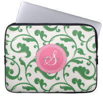 Elegant girly green floral pattern monogram laptop sleeve