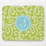 Elegant girly green floral pattern monogram mouse pad