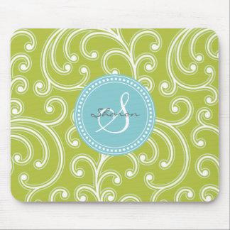 Elegant girly green floral pattern monogram mouse pad