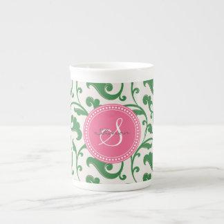 Elegant girly green floral pattern monogram tea cup