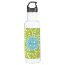 Elegant girly green floral pattern monogram water bottle