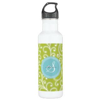 Elegant girly green floral pattern monogram water bottle