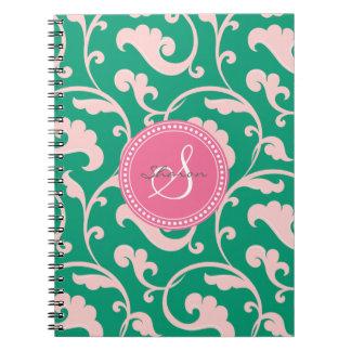 Elegant girly green pink floral pattern monogram note book