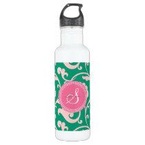 Elegant girly green pink floral pattern monogram water bottle
