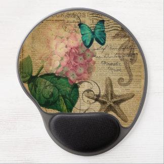 elegant girly Hydrangea butterfly vintage paris Gel Mouse Pad