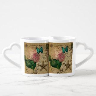 elegant girly Hydrangea butterfly vintage paris Couples' Coffee Mug Set