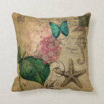 elegant girly Hydrangea butterfly vintage paris Pillow