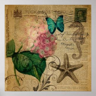 elegant girly Hydrangea butterfly vintage paris Poster
