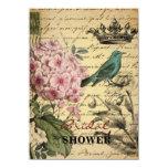 "elegant girly Hydrangea teal bird vintage paris 4.5"" X 6.25"" Invitation Card"
