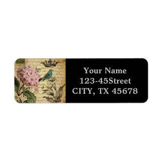 elegant girly Hydrangea teal bird vintage paris Return Address Label