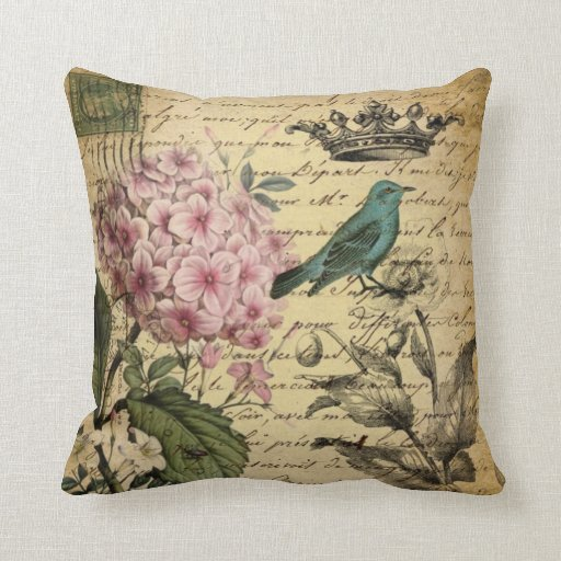 elegant girly Hydrangea teal bird vintage paris Pillow