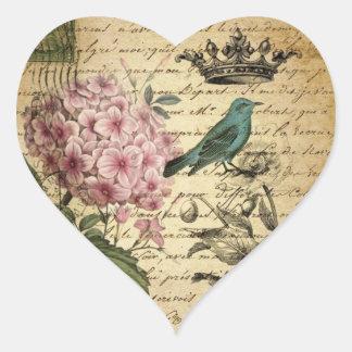 elegant girly Hydrangea teal bird vintage paris Heart Sticker