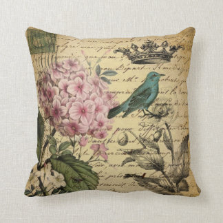 elegant girly Hydrangea teal bird vintage paris Throw Pillow