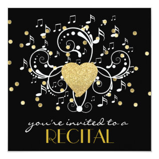 Elegant Girly Music Recital Invitation at Zazzle