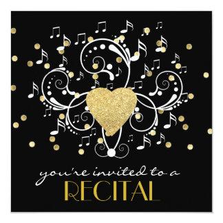 elegant girly music recital invitation