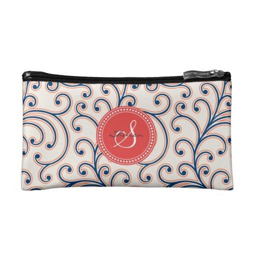 Elegant girly orange blue floral pattern monogram makeup bag